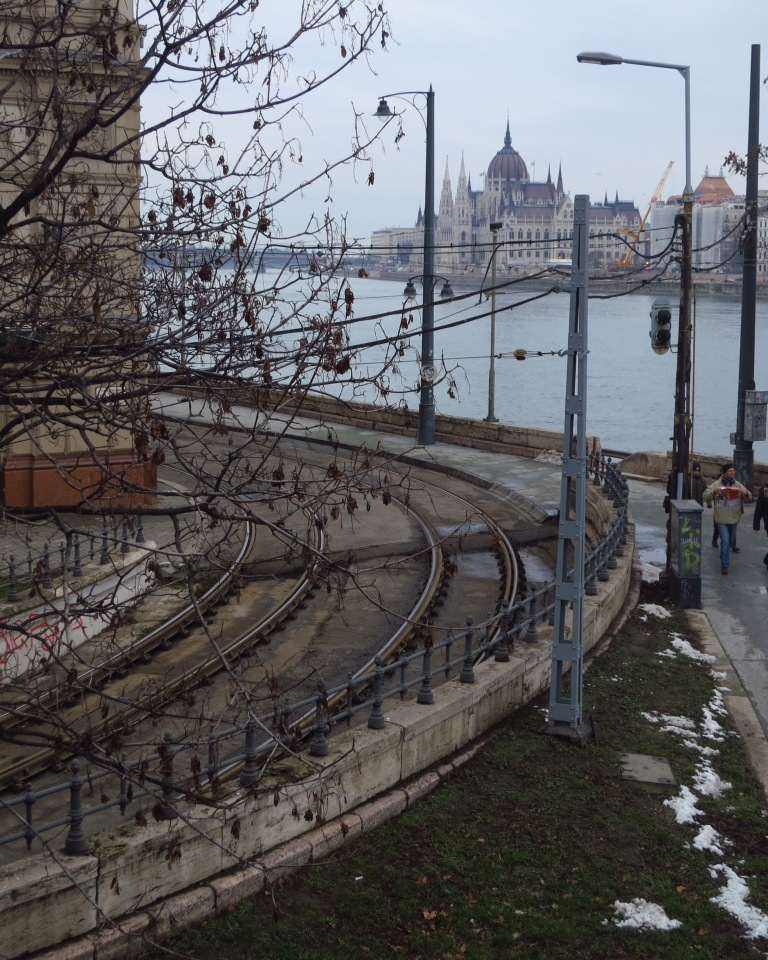 Villamos-tracks in front of the danube and the parlament