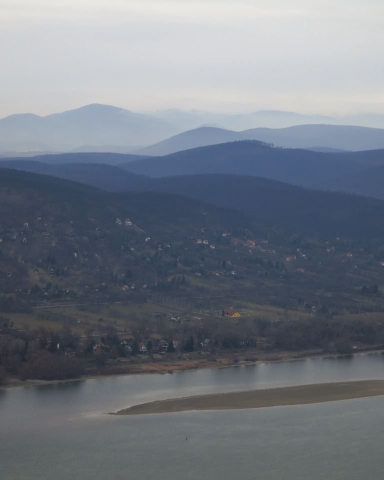 The Danube from the hill with the mountains of Hungary and Slovakia