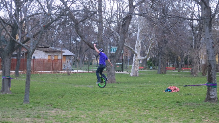 a hungarian unicyclist on a slackline. But he didnt looked at me...