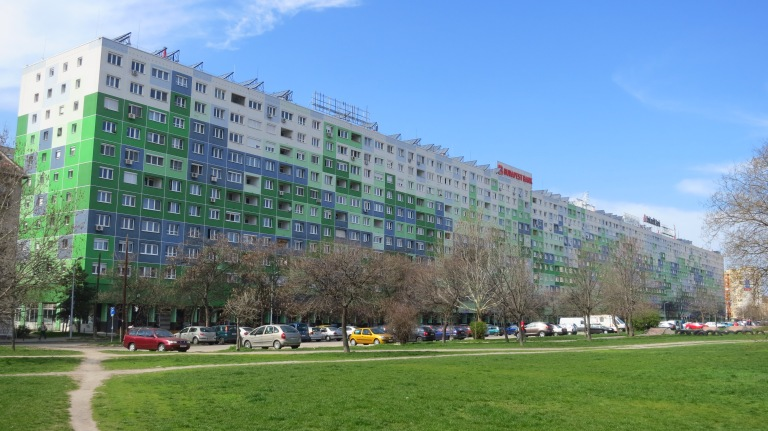 """With its 884 apartments it gives for about 3000 people a home. Thats why its called Faluház: """"village house"""""""