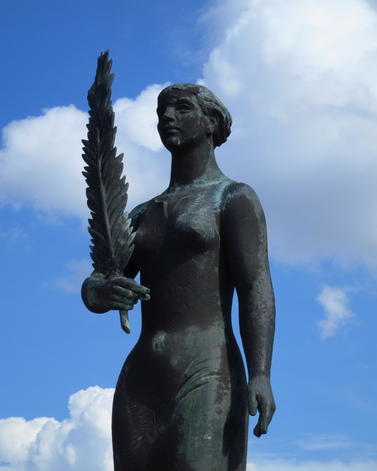 One of the very few female statues