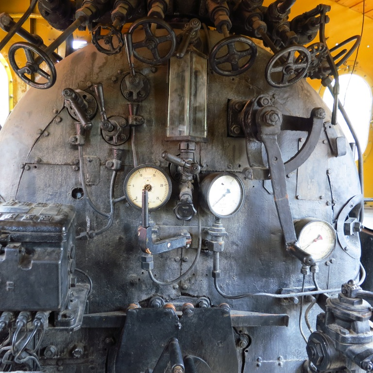 All the wheels and gauges inside a locomotive