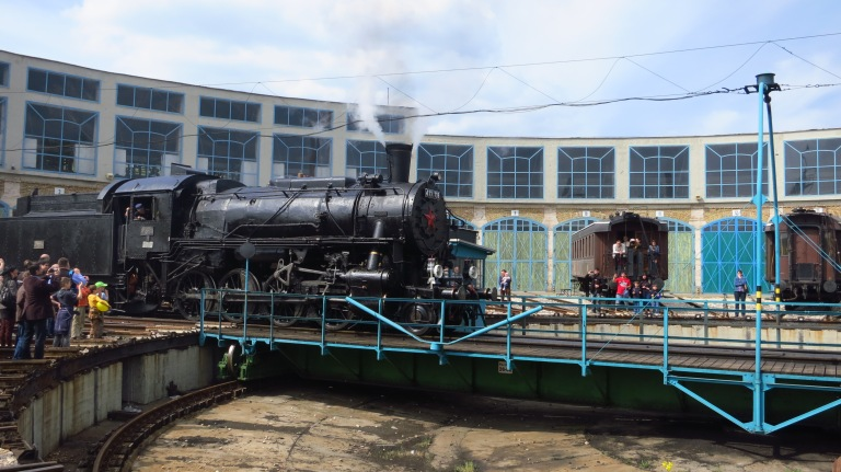 After the diesel engine was set into its new space, the steam locomotive was let out via the roundable