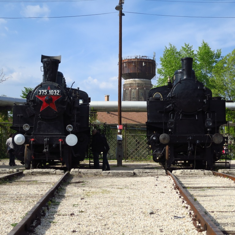 Two of many historical steam locomotives