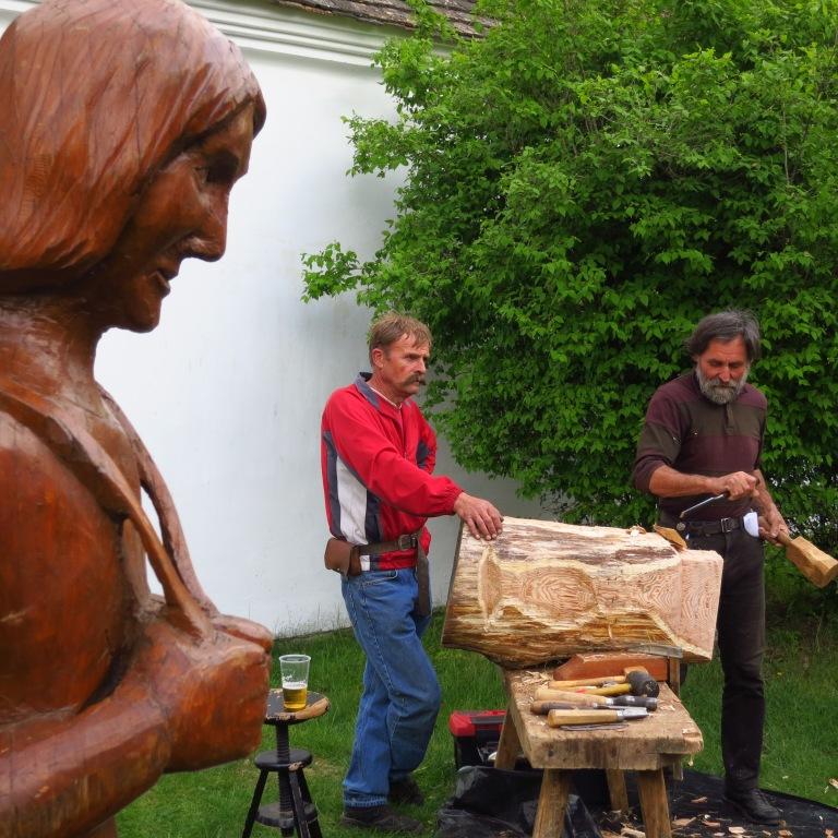 The statue supervises his creator